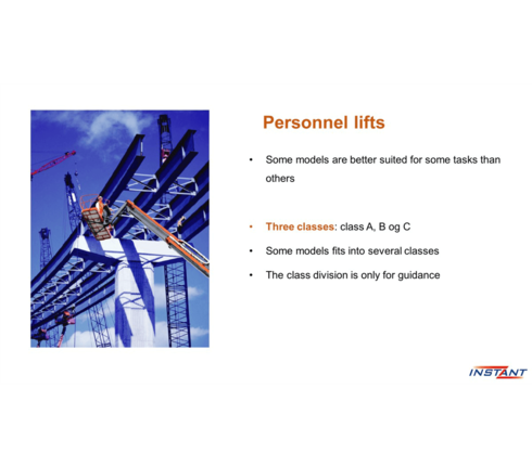Personnel lift course 3